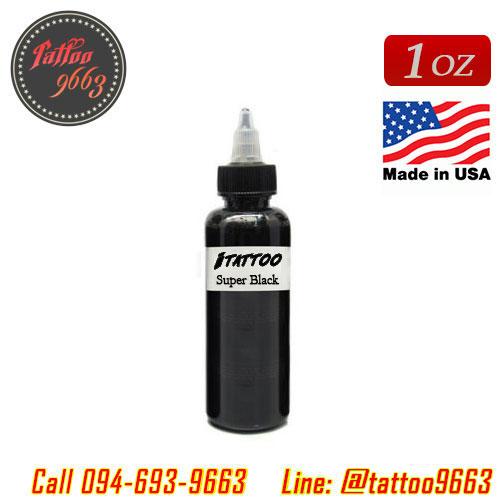 [iTATTOO] หมึกสักไอแทททู หมึกสักลายสีดำเข้มข้นสูง สีสักลายสีดำสนิท ขวดแบ่งขายขนาด 1 ออนซ์ สีสักนำเข้าจากประเทศอเมริกา iTattoo Tattoo Black Ink Super Black (1OZ/30ML)
