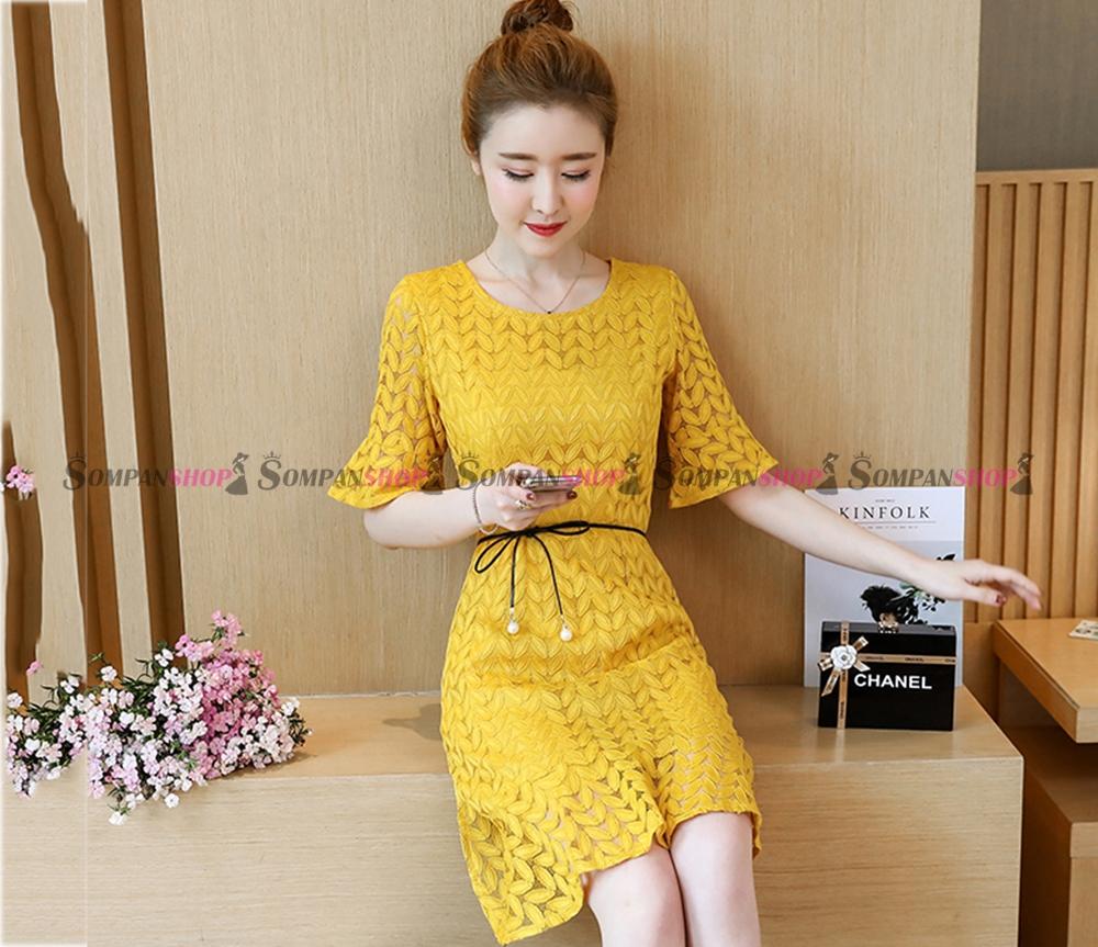 ชุดเดรสสั้นลูกไม้สีเหลือง เข้ารูป แขนสามส่วน : สินค้าพร้อมส่ง S M L XL 2XL 3XL