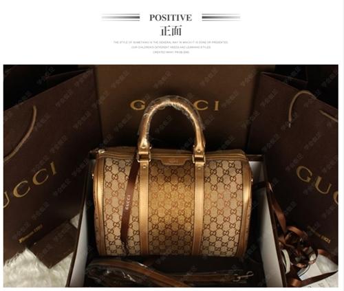กระเป๋าถือ / หนังผ้าแบรนด์ GUCCI ทรงหมอน สีทอง