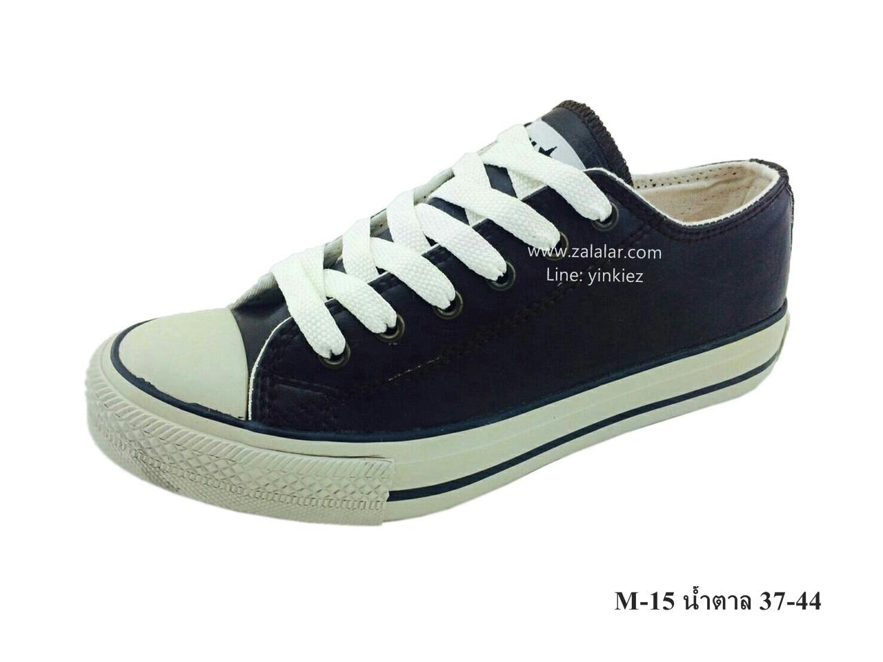 [พร้อมส่ง] รองเท้าผ้าใบแฟชั่น รุ่น M-15 สีน้ำตาล แบบหนัง