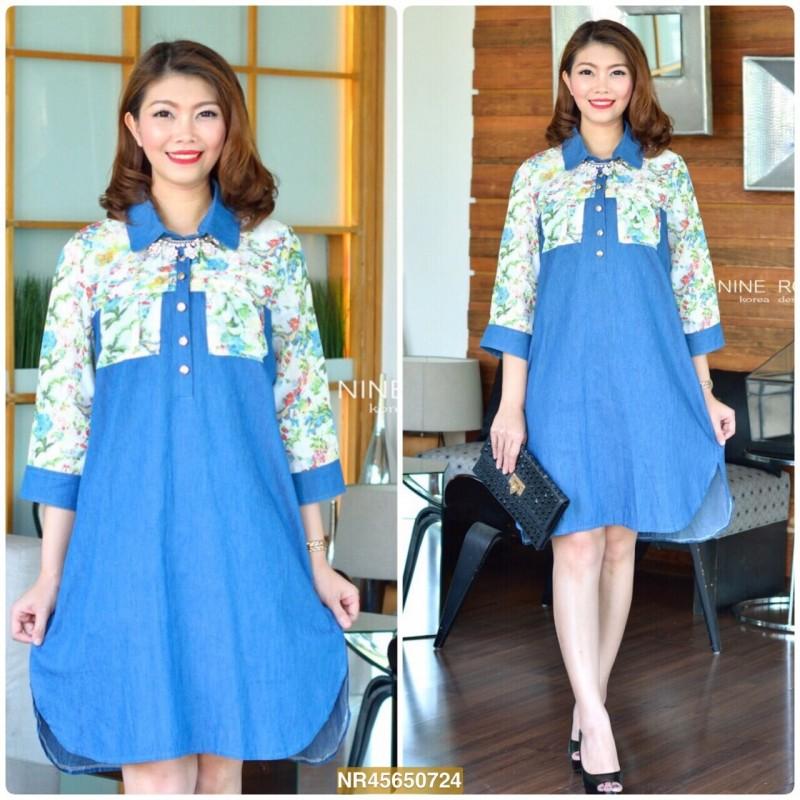 "NR724 **สียีนส์เข้ม**อก 44"" ZARA Upper Floral Print With Wash Jean Shirtdress"