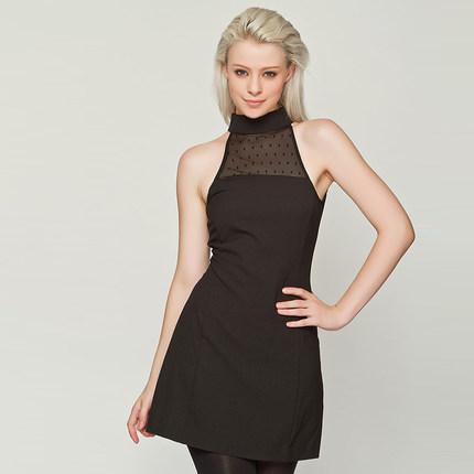 **พรีออเดอร์** ชุดเดรสผู้หญิงแฟชั่นยุโรปใหม่ แขนกุด คอปิด เปิดหลัง แบบเก๋ เท่ห์ / **Preorder** New European Fashion Slim Lace Stitching High Neck Sleeveless Backless Dress