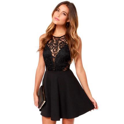 **พรีออเดอร์** ชุดเดรสผู้หญิงแฟชั่นยุโรปใหม่ แขนกุด ลูกไม้กระโปรงพลีท แบบเก๋ เท่ห์ / **Preorder** New European Fashion Slim Lace Stitching Sleeveless Pleated Dress