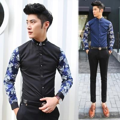 พรีออเดอร์ เสื้อเชิ้ตทำงานแฟชั่นเกาหลีสำหรับผู้ชาย แขนยาวลายดอกไม้เก๋ เท่ห์ - Preorder Men Korean Hitz Slim Long-sleeved Floral Pattern Shirt