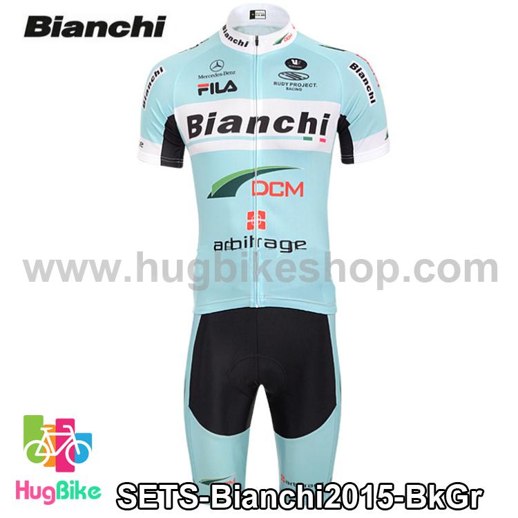 ชุดจักรยานแขนสั้นทีม Bianchi 15 (07) สีเขียวอมฟ้า สั่งจอง (Pre-order)