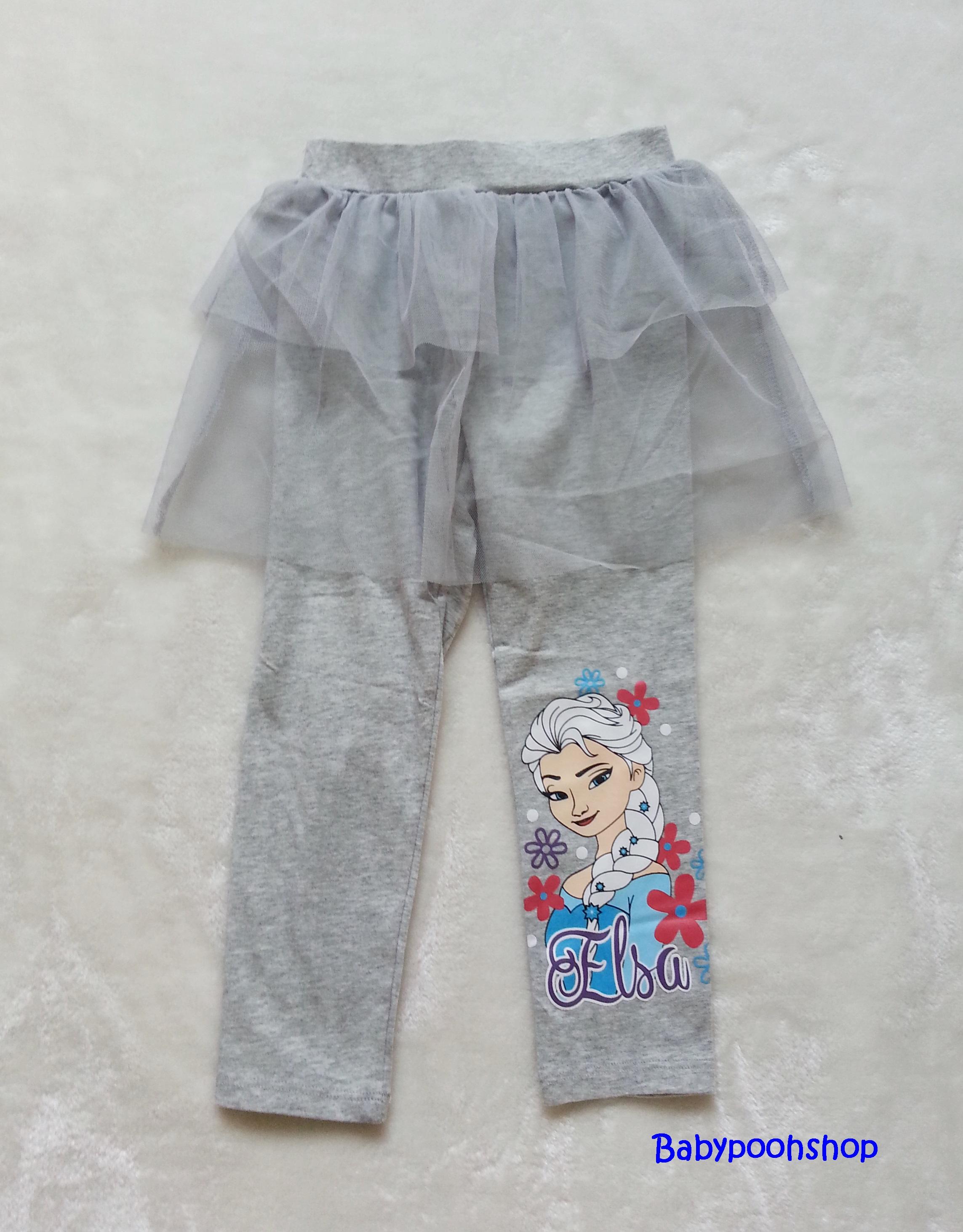 H&M : กางเกงเลกกิ้ง มีระบาย สกรีน ลาย เอลซ่า สีเทา size 2-4y