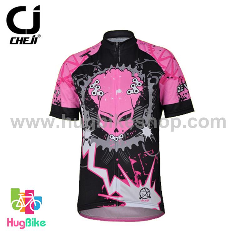 เสื้อจักรยานผู้หญิงแขนสั้น CheJi สีดำชมพูลาย Devil Gear สั่งจอง (Pre-order)