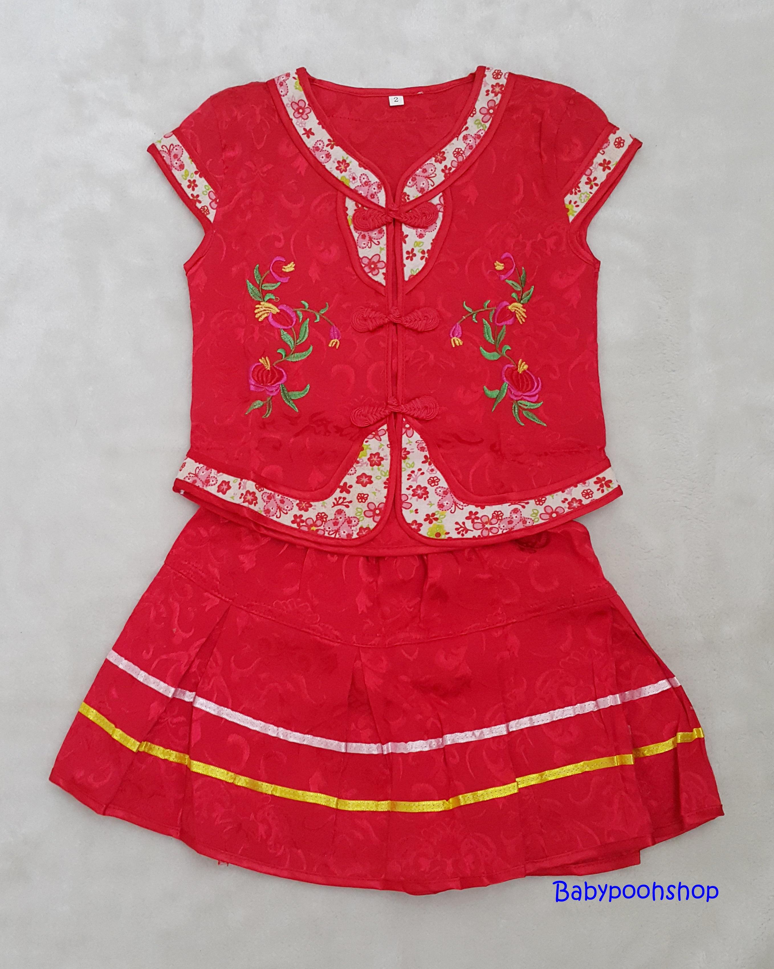set เสื้อ+กระโปรง ลายดอกไม้จีน size : 2 ( 2-3y )