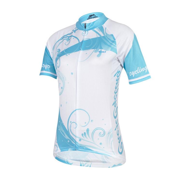 เสื้อจักรยานผู้หญิงแขนสั้น CheJi สีขาวฟ้า
