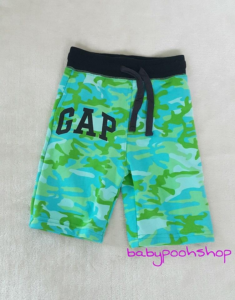 Gap kids : กางเกงขาสั้น เนือผ้า cotton ยืด สีเขียวลาย size : 10