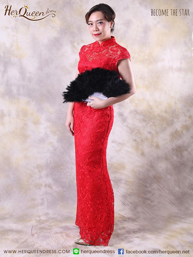 เช่าชุดแฟนซี &#x2665 ชุดจีน ชุดกี่เพ้า ลูกไม้ทั้งตัว - สีแดง