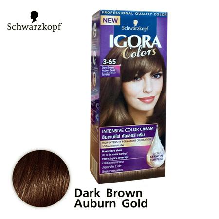 Schwarzkopf IGORA Colors อีโกร่า อินเทนซีฟ คัลเลอร์ ครีม 3-65 Dark Brown Auburn Gold น้ำตาลเข้มช็อคโกแลตประกายทอง