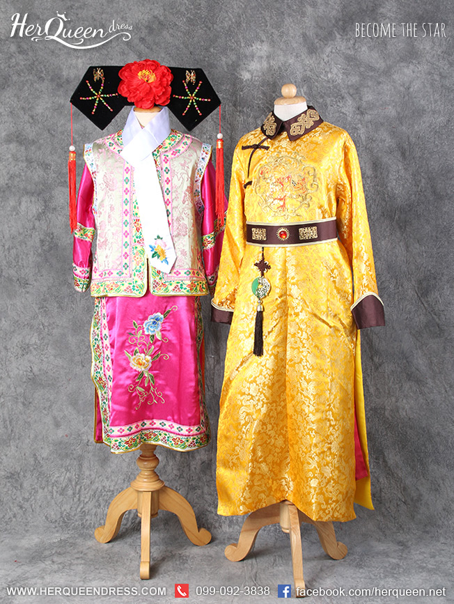 เช่าชุดแฟนซีเด็ก จีน &#x2665 เซ็ทคู่ชุดจีนสำหรับเด็ก ฮ่องเต้เจ้าสำราญและองค์หญิงกำมะลอ