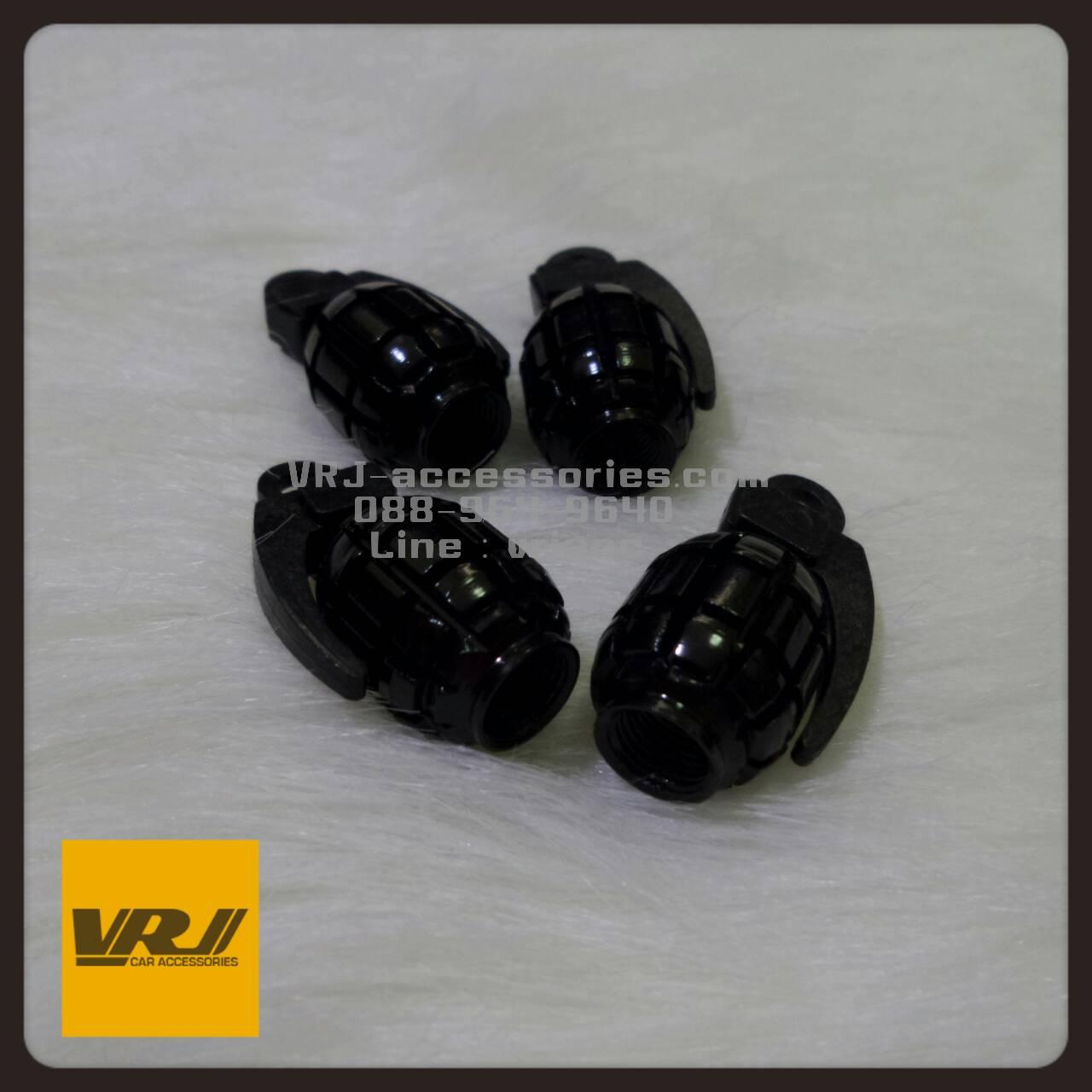 จุกลม ลูกระเบิด น้อยหน่า สีดำ : Car tire valve Stem caps - Grenade Bomb