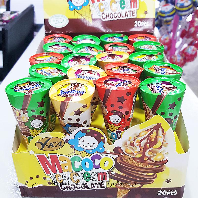 พร้อมส่ง ** Macoco Ice Cream Chocolate ช็อคโกแลตรูปไอศครีมโคน แพ็ค 20 ชิ้น (สินค้ามาเลเซีย)