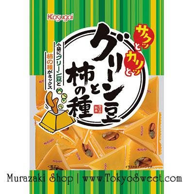 พร้อมส่ง ** Sugar Pea and Kaki no Tane ถั่วลันเตาอบกรอบและข้าวพองญี่ปุ่นเคลือบโชยุ ของทานเล่นเพลินๆ มาในซองแยกรูป 3 เหลี่ยม บรรจุ 120 กรัม