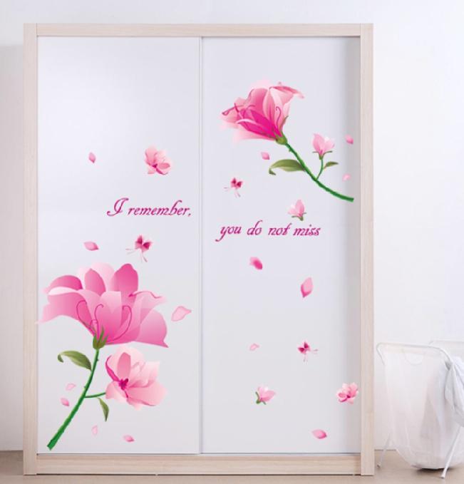 """สติ๊กเกอร์ติดผนังตกแต่งบ้าน """"Pink Dream Flower"""" ความสูง 67 cm ยาว 136 cm"""