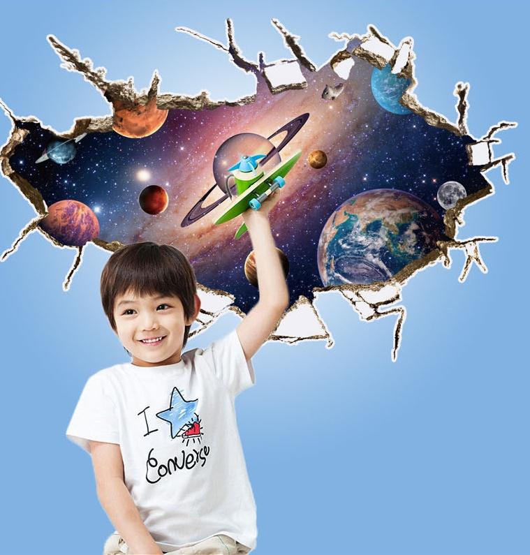 """สติ๊กเกอร์ติดผนัง ตกแต่งบ้าน Wall Sticker 3D """"อวกาศ 2"""" ความสูง 60 cm กว้าง 90 cm"""