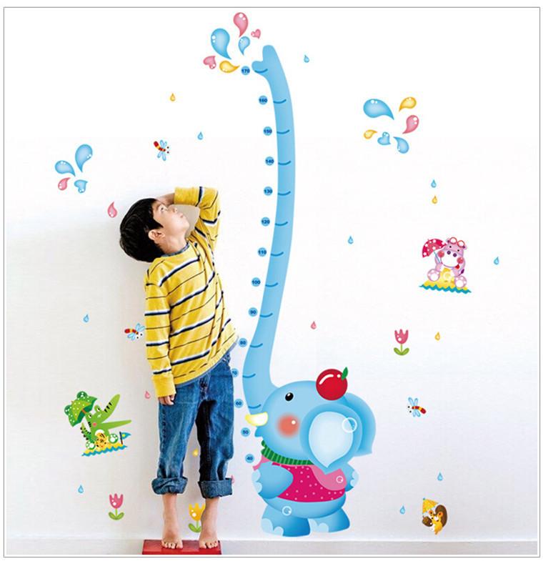 """สติ๊กเกอร์ติดผนัง หมวดที่วัดส่วนสูง """"ที่วัดส่วนสูง Lovely Elephant"""" สเกลเริ่มต้น 40cm ถึง 170 cm"""