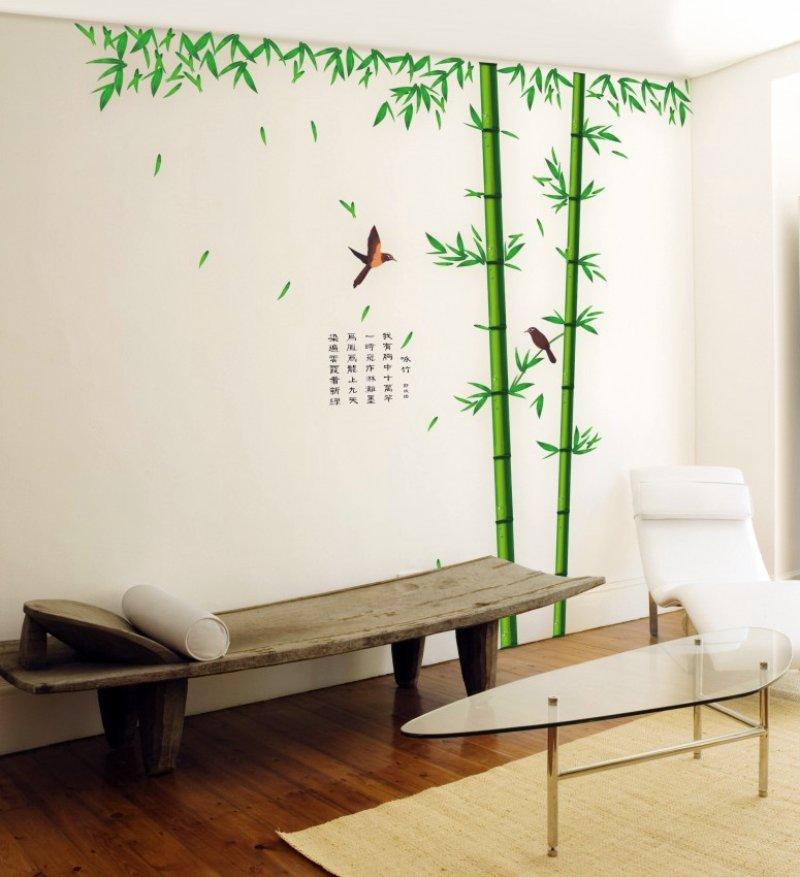 """Big Size สติ๊กเกอร์ติดผนังตกแต่งบ้าน """"ต้นไม้ใหญ่ ไผ่เขียว Bamboo"""" ความสูง 250 cm กว้าง 230 cm"""