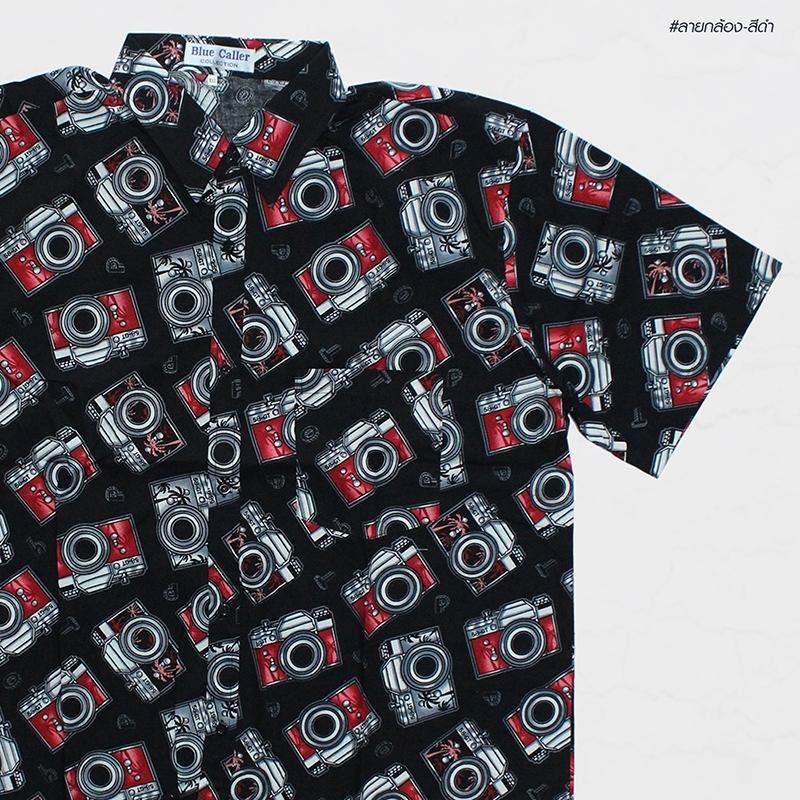 เสื้อเชิ๊ตแขนสั้น ลายกล้อง สีดำแดง