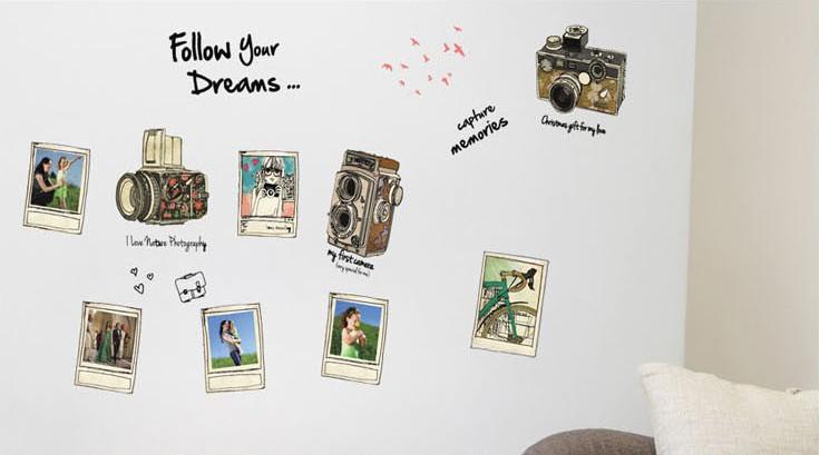 """สติ๊กเกอร์ตกแต่งผนัง กรอบรูป """"Follow your Dreams"""" ความสูง 95 cm กว้าง 150 cm"""