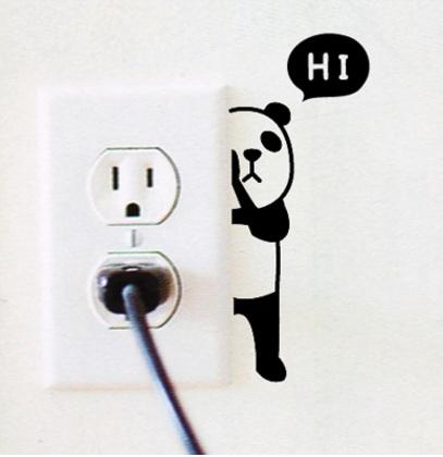 """สติ๊กเกอร์ติดปลั๊กไฟ """"Hi Panda ขวา""""ขนาดซองบรรจุ 15 x 12 cm"""