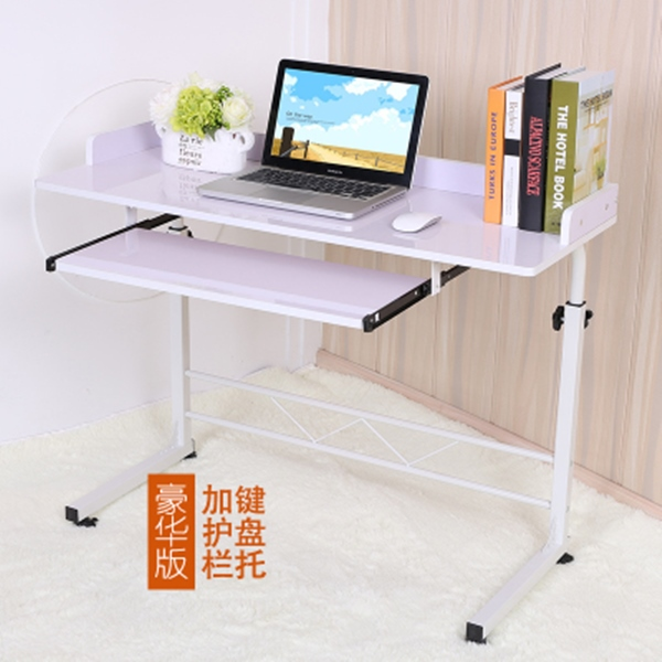 Pre-order โต๊ะทำงาน โต๊ะวางคอมพิวเตอร์ โต๊ะวางแล็ปท้อป มีที่วางคีย์บอร์ด ปรับระดับได มีล้อเลื่อน สีขาว