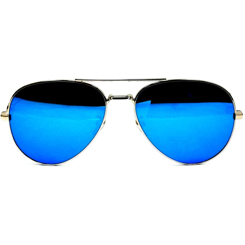 แว่นกันแดดแฟชั่น ดีไซด์เก๋ กรอบสีเงิน เลนส์สีฟ้า