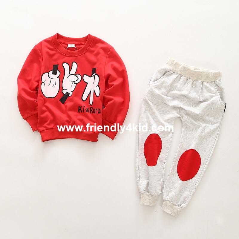 กันหนาว มิ๊กกี้สีแดง+กางเกง