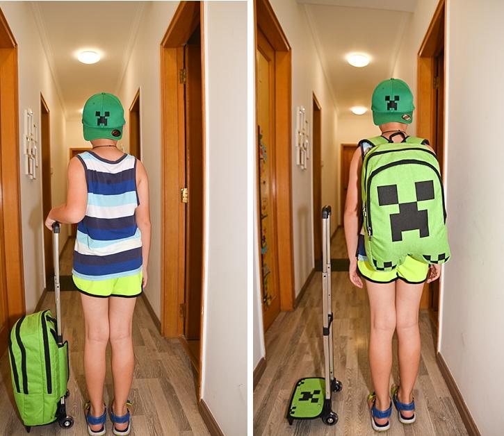 กระเป๋าเป้สะพายพร้อมรถเข็น minecraft