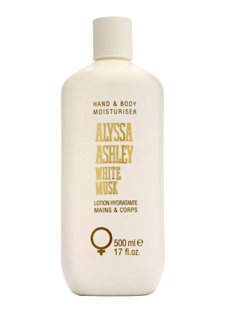 Alyssa Ashley White Musk Hand and Body Moisturiser 500ml ฝาขาว กลิ่นหอมของแป้งเด็ก โลชั่นจากประเทศอิตาลี ช่วยให้ผิวขาวใส ประกายออร่า กระชับผิวให้แลดูกว่าวัย กลิ่น white musk เนื้อครีมเข้มข้น เพิ่มความกระจ่าง ขาวใสให้กับผิว และให้ความชุ่มชื้น