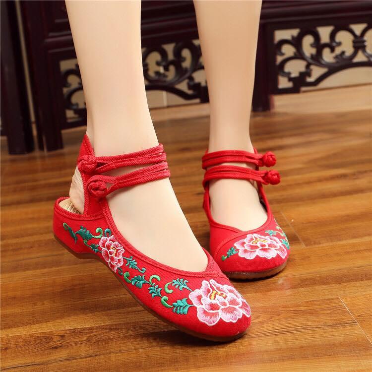 รองเท้าจีน ลาายดอกใหญ่เปิดส้น สีแดง