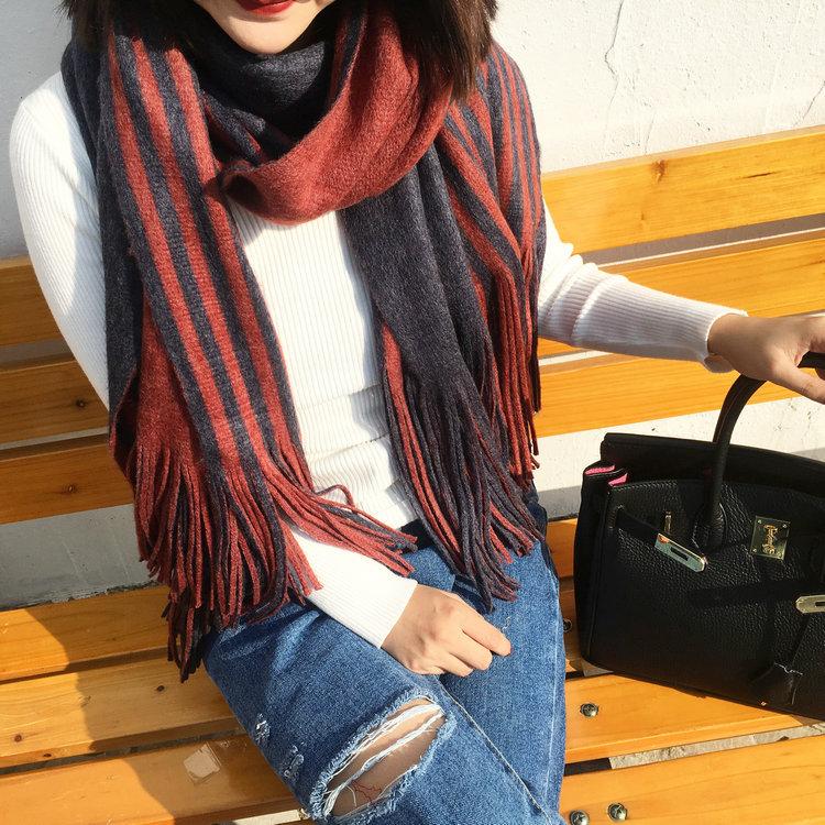 ผ้าพันคอผสมขนสัตว์ลายทาง Striped wool scarf มี 5 สี