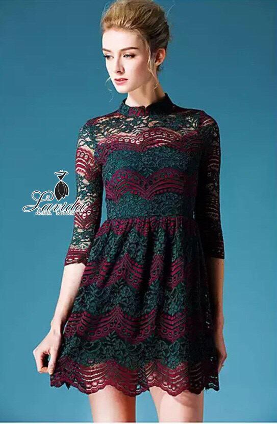 Korea Design By Lavida luxury lace hi-end women dress