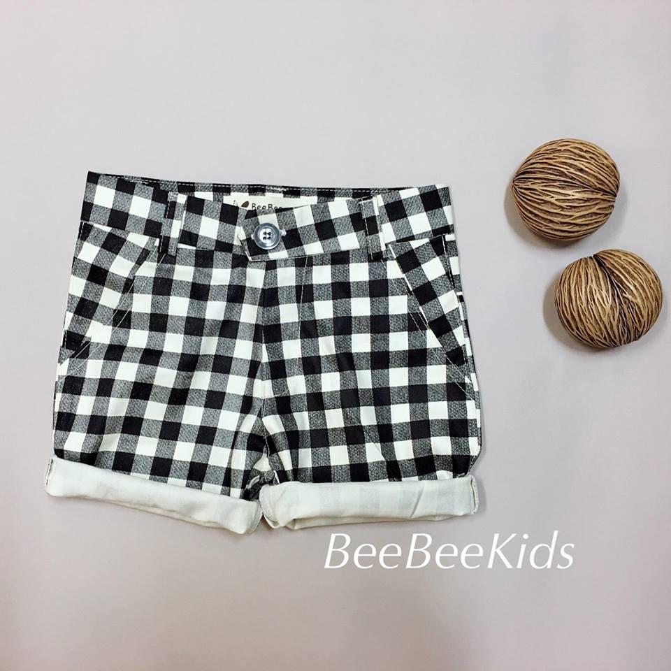 กางเกงสามส่วนเด็ก ลายตาราง สีดำ (S M L)