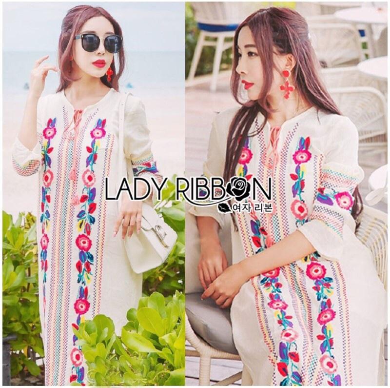 Lady Ribbon's Made Lady Lea Boho Colourful Flower Embroidered Midi Dress สีขาว