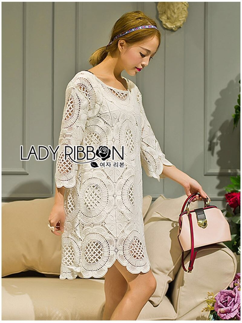 Lady Ribbon's Made Lady Jen Feminine Laser-Cut and Embroidered Lace Dress in White