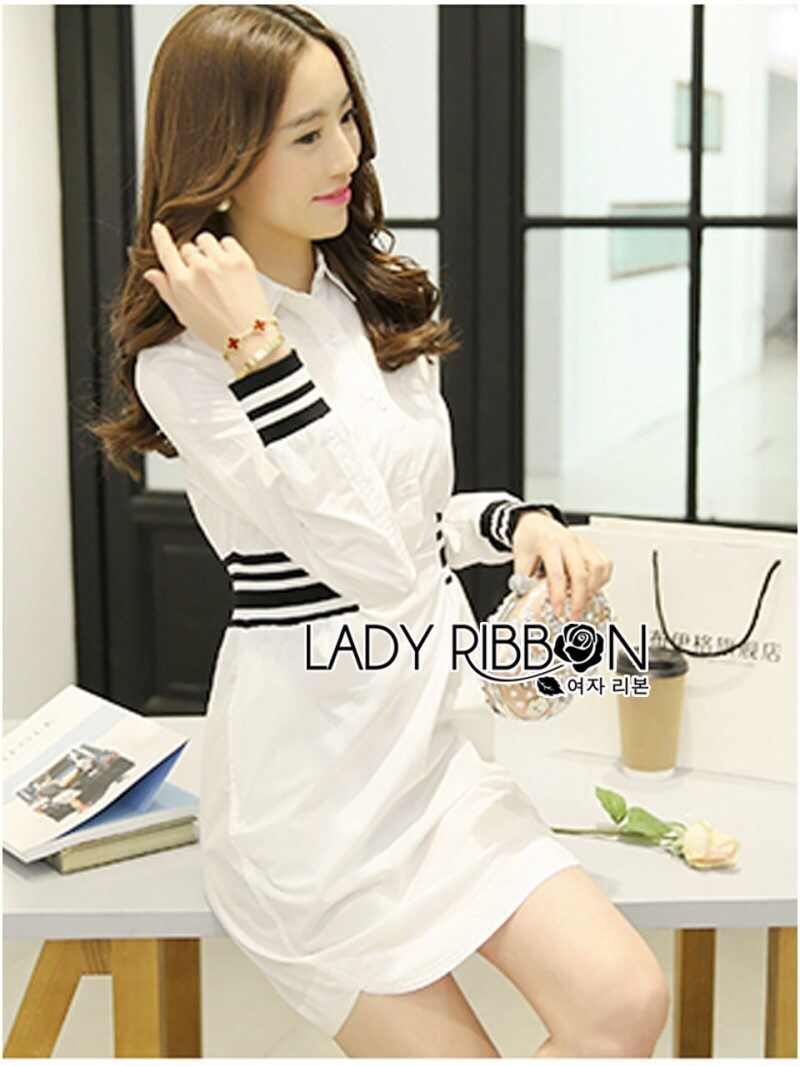 Lady Ribbon's Made Lady Alana Minimal Chic White Cotton Shirt Dress