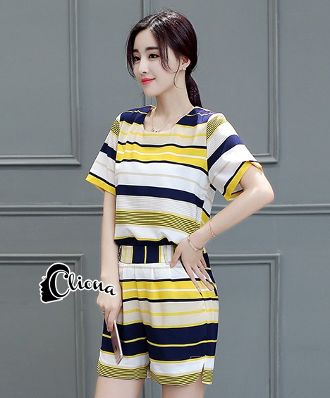 Cliona Made' Colorfull Strip Top + Short Set สีเหลือง