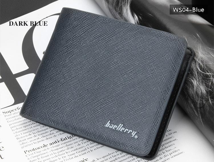 ( ลดล้างสต๊อค ) WS04-Blue กระเป๋าสตางค์ใบสั้น แนวนอน กระเป๋าสตางค์ผู้ชาย หนัง PU เกรดเอ สีน้ำเงิน