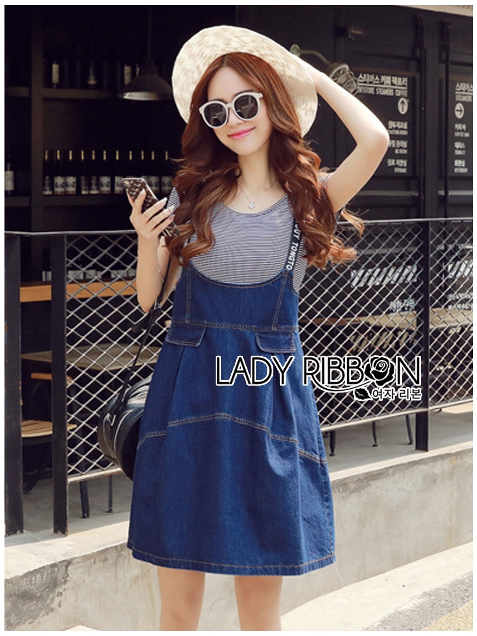 Lady Alexa Street Chic Striped T-Shirt with Denim Overall Dress