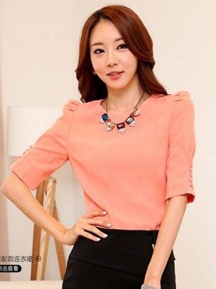 เสื้อทำงาน แขนสามส่วน ผ้าเกาหลี เสื้อสีชมพู