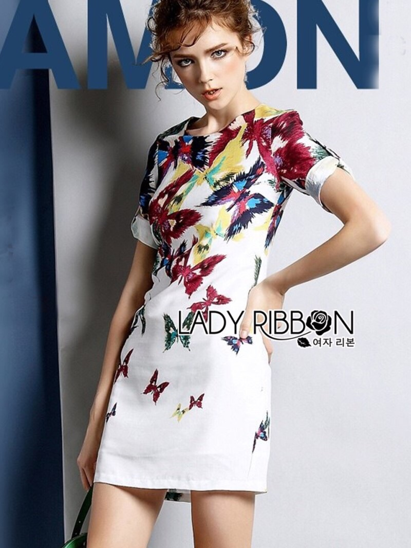 Lady Ribbon's Made Lady Amanda Smart and Sexy Colourful Butterfly Printed Dress
