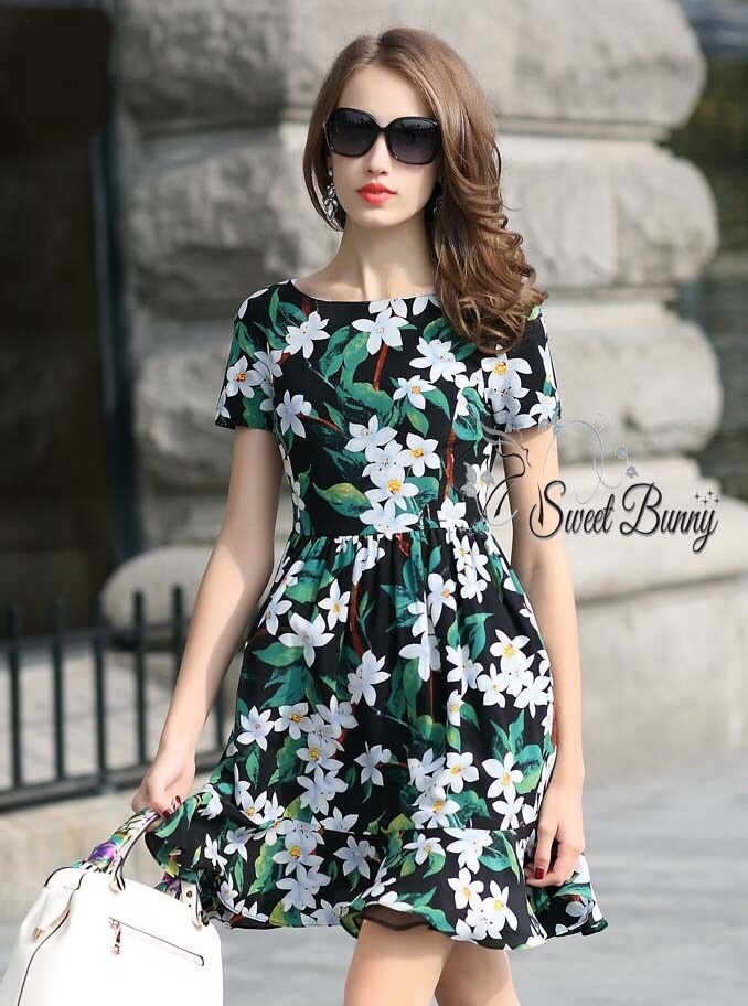 Winter floral print tunic dress by Sweet Bunny