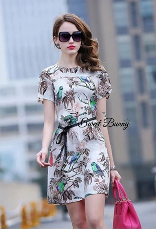 Printed nature dress with belt by Sweet Bunny