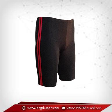 กางเกงรัดกล้ามเนื้อ ผ้าSpandex ขาสั้น สีดำ-แถบแดง