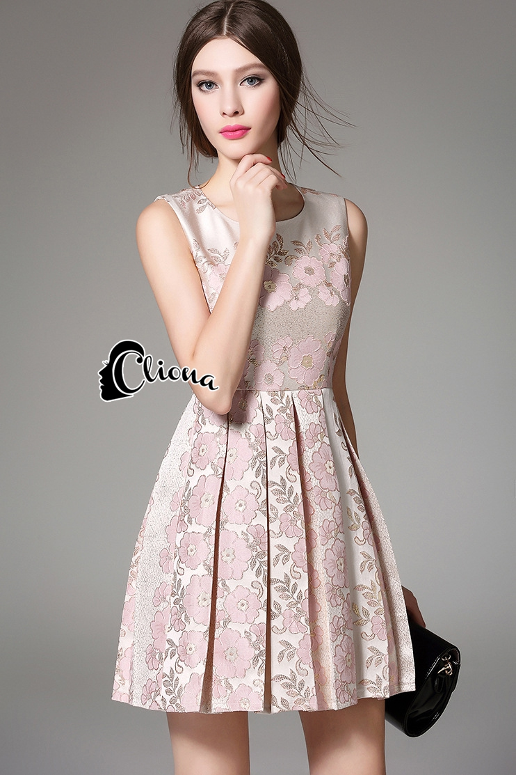 Cliona Made' Pinky Golden Floral Lace Luxury Dress