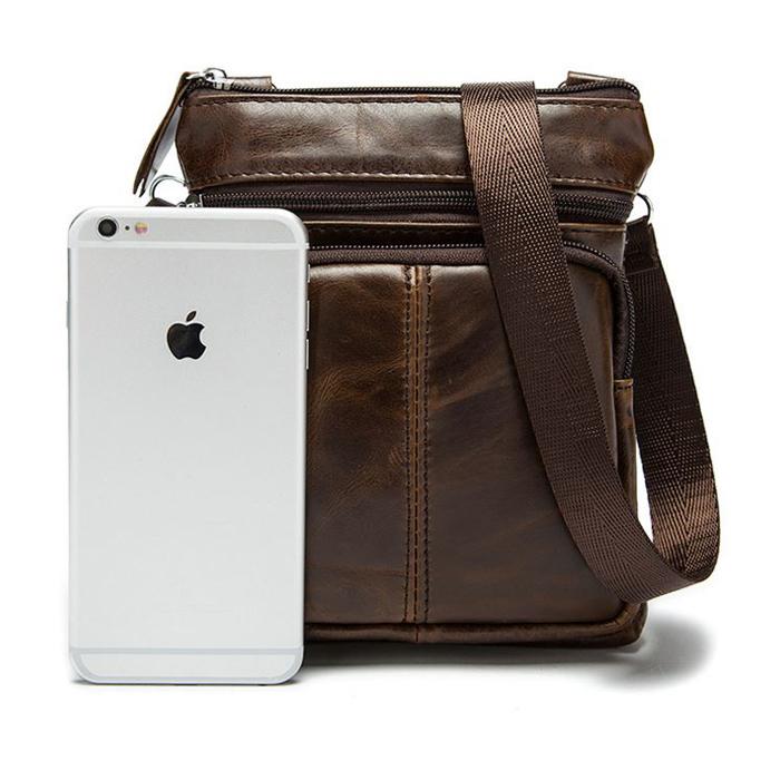 OP-2811 กระเป๋าหนังแท้ สะพายข้าง ใบเล็ก สีดำ-น้ำตาล