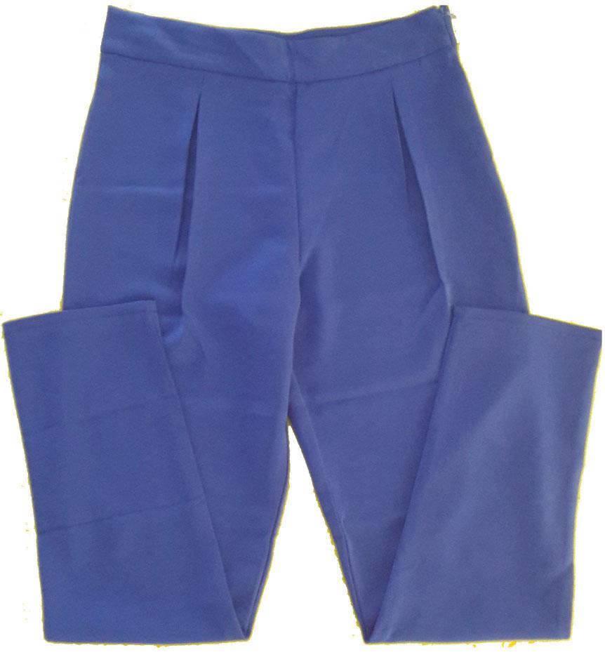 กางเกงขายาวผ้าฮานาโกะ ขาเดฟเอวสูงจีบทวิตหน้า สีน้ำเงิน Size S M L XL